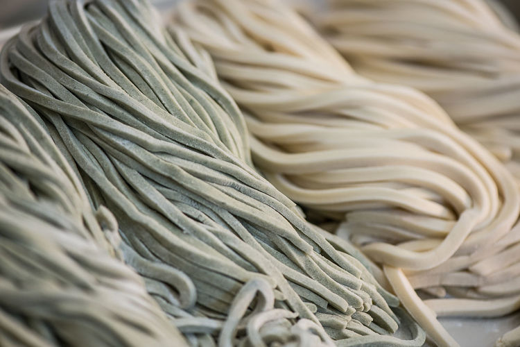 Close-Up Of Raw Udon Noodles