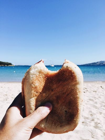 Sandwich on the beach Food And Drink Human Hand Sea Human Body Part Beach Food One Person Holding Close-up Water Eating Lifestyles Clear Sky Blue Real People Outdoors Horizon Over Water Day Freshness Animal Themes Sandwich Bocadillo Panini Summer Summertime