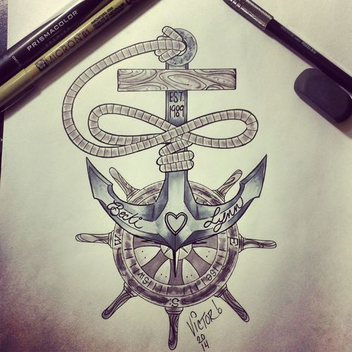 Anchor Tattoo Design I did with the Infinity symbol out of the rope and a Compass integrated into the captains wheel
