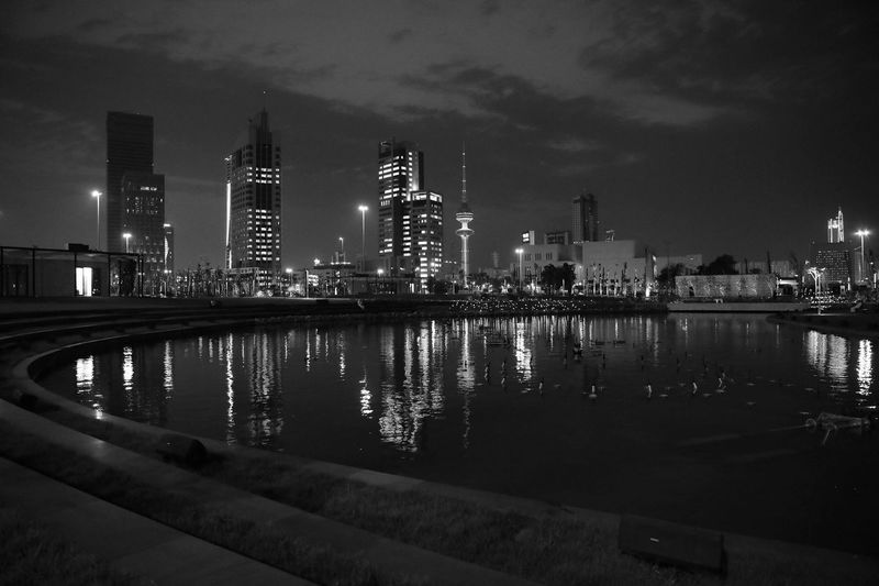 Architecture Building Exterior Reflection Built Structure Skyscraper Illuminated Night Sky Water City Modern Travel Destinations River Waterfront Outdoors No People Cityscape Urban Skyline Nature Kuwait City Kuwait