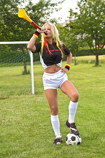 Field Fun Grass Outdoors Sport Football Fever Standing Women Who Inspire You Legs Nina Sternfee Good Morning! Football Goodnight Person Germany Blonde Girl Female Model Portrait
