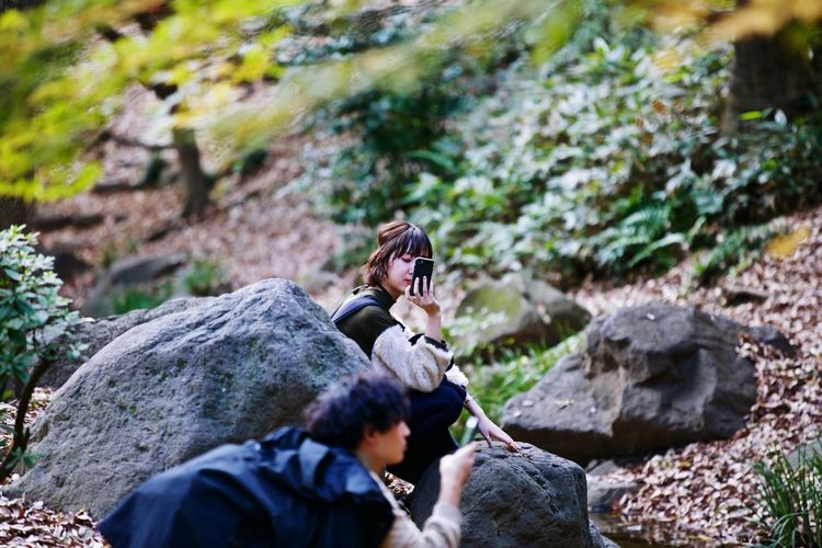 Tokyo, Japan Park Rock Solid Rock - Object Leisure Activity Forest Adult People Real People Women Outdoors