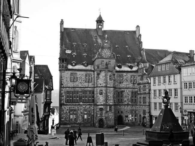 Architecture Building Exterior Built Structure City City Life Day Historical Building Large Group Of People Monochrome Photography Outdoors People Real People Sky Town Hall Travel Destinations