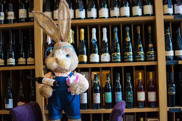 Easter bunny at wine cellar