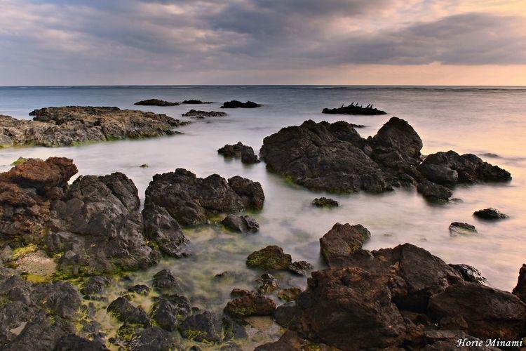 奄美大島 EyeEm Selects EyeEm Gallery EyeEmNewHere EyeEm Best Shots Sea Horizon Over Water Water Rock - Object Sky Scenics Tranquility Beach Sunset