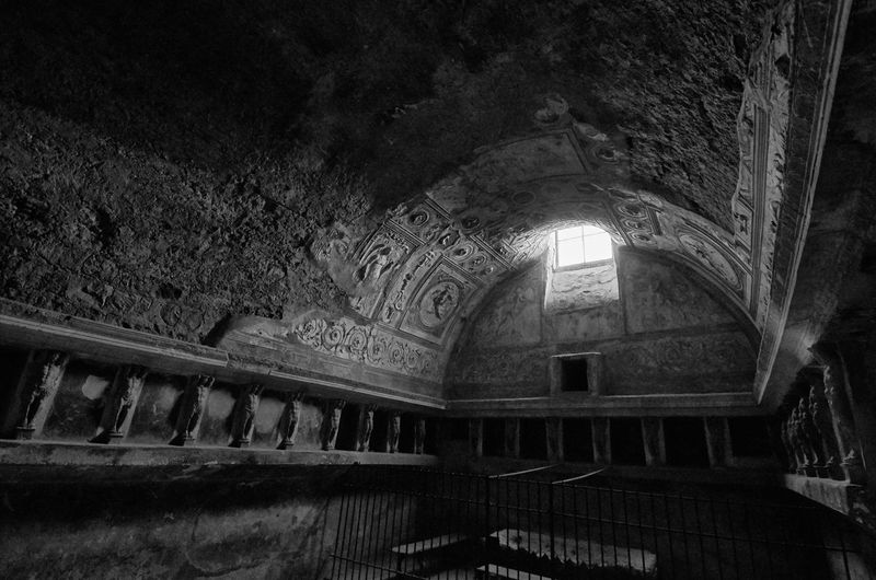 Pompeii Forum Baths Pompeii  Italy Baths Roman Ancient Ancient Civilization Architecture Ancient Architecture Interior Public Bath Weathered Textures And Surfaces Ruins Monochrome Black And White Blackandwhite Photography Blackandwhite No People Dark Gloomy Indoors  Built Structure