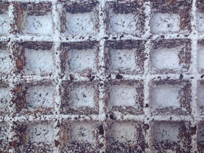 Full Frame Shot Of Chocolate Waffle Covered With Powdered Sugar