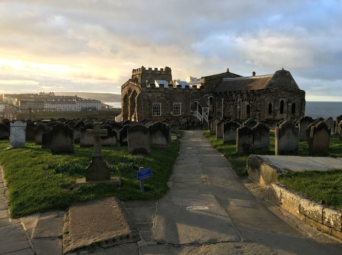 North Sea, Whitby, North Yorkshire, England Whitby Abbey Old Church Architecture Building Exterior Historic Cloud - Sky Sea View Travel Photography England