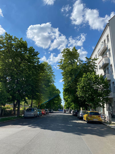 Street amidst trees and buildings against sky