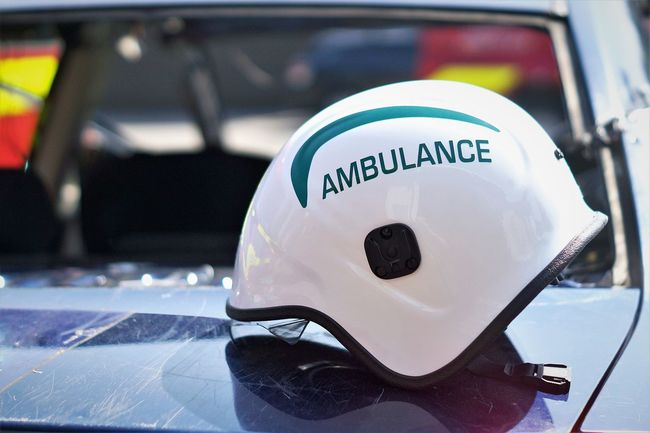 999 Ambulance Ambulance Service Car Accident Car Bonnet Close-up Day Emergency Services Helmet No People Outdoors Poignant Protective Workwear Resuce Rtc