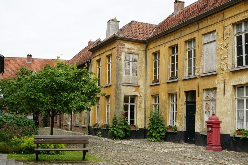 Building Exterior Architecture Built Structure Outdoors City No People Tree Day Sky Street Bricks House Old Architectural Historical Building City Building Façade Facades Beguinage Cityscape View