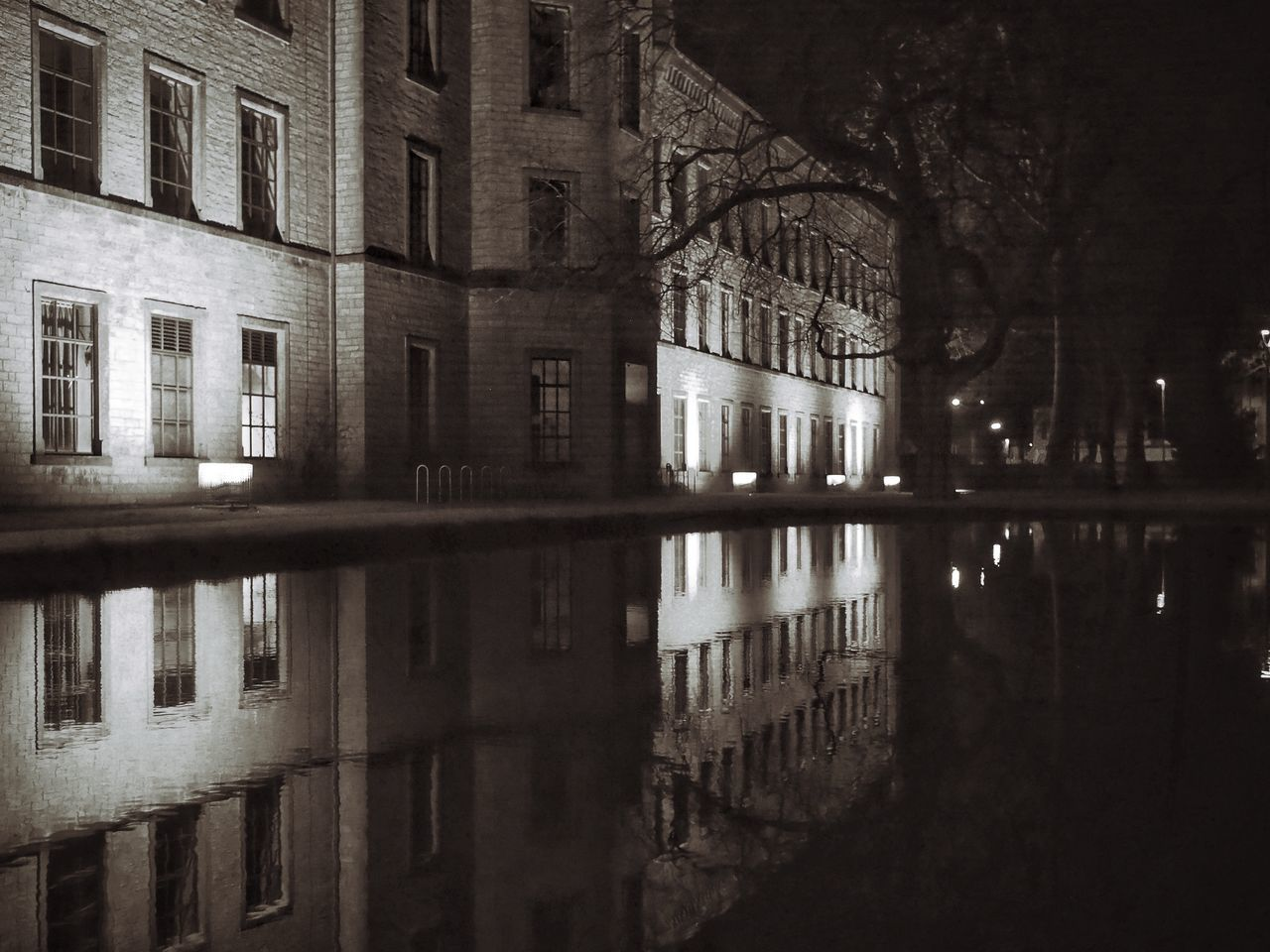 reflection, architecture, building exterior, built structure, night, illuminated, no people, outdoors, city, water, sky