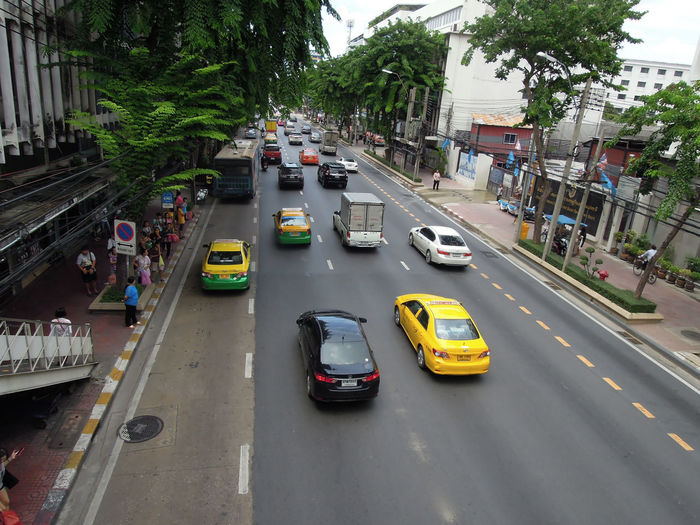 High angle view of vehicles moving on road