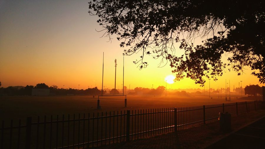 Rugby Field At Sunset