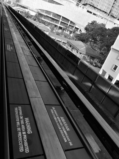 Blackandwhite City Danger LRT Lrt Track Magnetic Transportation