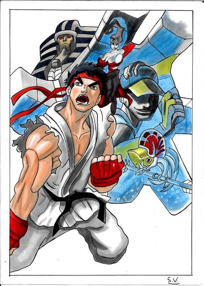 By Sam. capcom fanart with g3aph'it marker on A4 paper. Art Drawing Art Gallery Draw Comics Street Fighter My Art MyArt Desenho Tagsforlikes Videogames Drawings Sketch Doodle Followme Doodle Art Ryu Pencilart CAPCOM