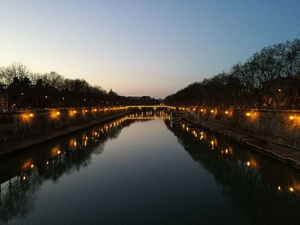You can just make out the dome of St Peters in the background Reflection Sunset Water Illuminated Bridge - Man Made Structure Bridge Bridge Over Water River River Tiber Tiber River Tiber View Travel Travel Destinations Rome Italy🇮🇹 Rome Roma Travel Photography No Filter, No Edit, Just Photography No Filter Ponte Sisto Outdoors Night Nature Beauty In Nature The Week On EyeEm