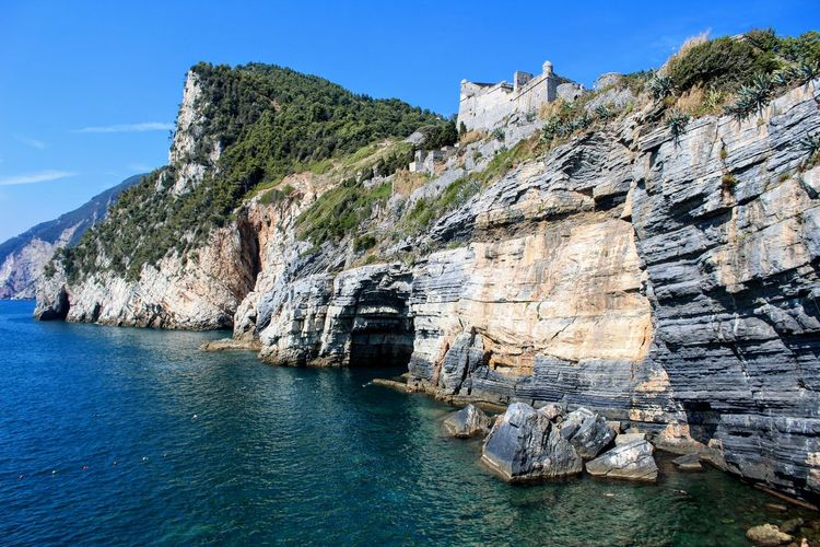 Scenic View Of Cliff By Sea Against Blue Sky