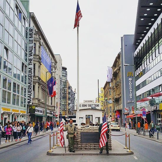 unreal, but most visited: allied checkpoint in the highstreet of Berlin Checkpointcharlie History Travel Instatravel City Berlinwall Tourist