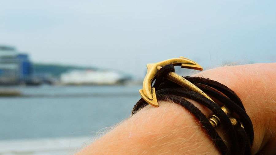 Aarhus, Denmark Anchor Close-up Day Focus On Foreground Gold Hand Lifestyles Outdoors Sea Seamanship Selective Focus Shiplife⚓ Sky Horizon Over Water Personal Accessory
