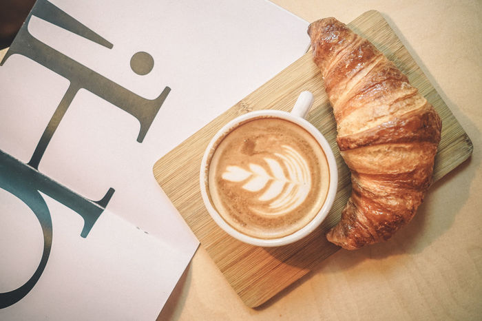 Cafe Coffee Break Coffee Cup Croissant Drink Food Food And Drink No People
