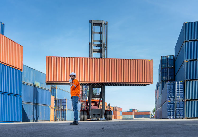 Container in export and import business and logistics.  m