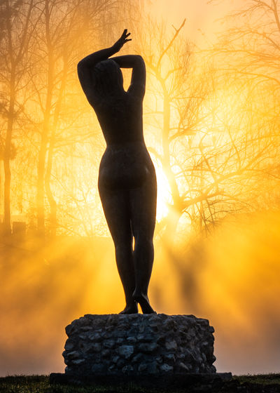 Low angle view of silhouette statue against tree during sunset