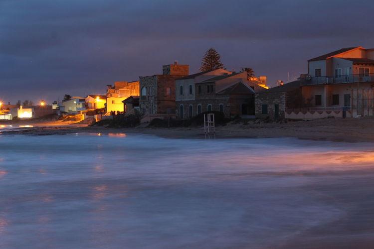 Seaside Golden Hour Beach Water Silk Effect Sea Illuminated Sky Architecture Landscape