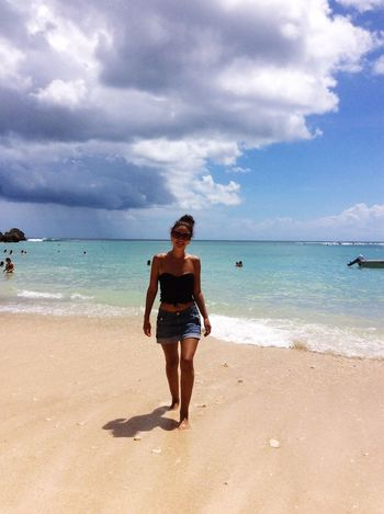Beautiful Woman Sea Sky Beach Full Length Horizon Over Water Water Nature Cloud - Sky Beauty In Nature Scenics One Person Real People Sand Standing Young Adult Vacations Day Leisure Activity Lifestyles Outdoors Wind Of Change Balinesegirl Balinese Life Padang-Padang Happiness