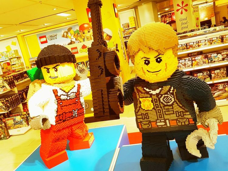 Paint The Town Yellow Indoors  Multi Colored Store Yellow Legostagram LEGO Store Decor
