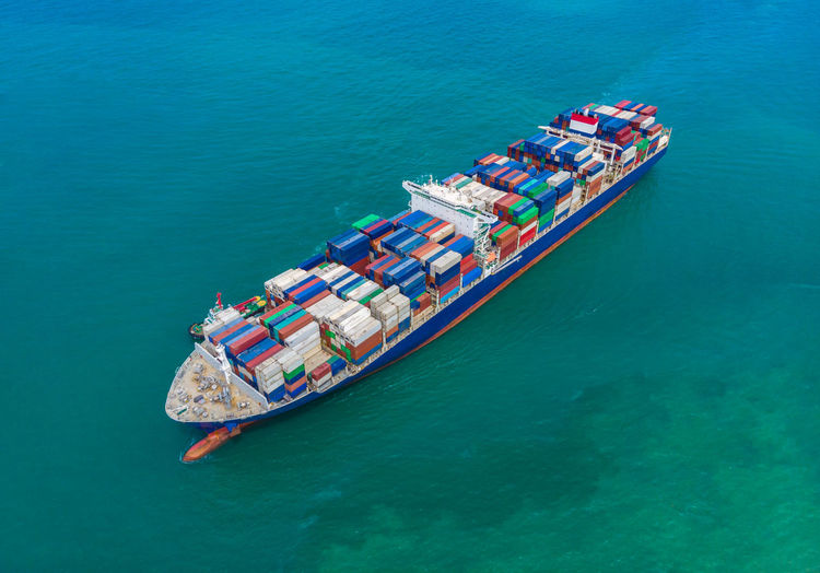 High angle view of shipping containers cargo logistics international by sea