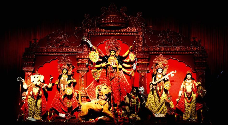 Epitomises the victory of Good over Evil. Durga Puja! Durga Puja Durgapuja Goddess Good Evil Saptami Religious  Bengali Bing Bangla WestBengal Tradition socialgathering Powerful Eyes Elegant Mahishasura Win Temple Belief Holy IPhone Icredibleindia India