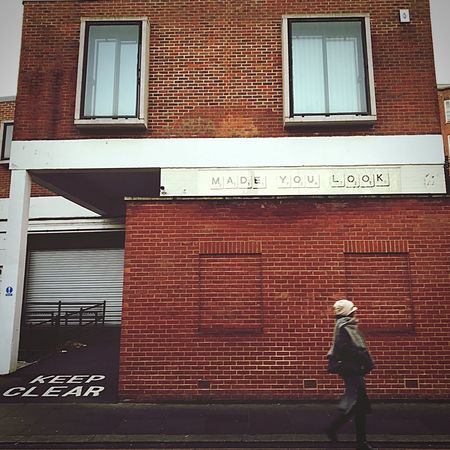Made you look... Full Length Built Structure Building Exterior One Person Architecture Real People Red Outdoors Text Day Rear View Brick Wall Leisure Activity Men One Man Only People Travel Travel Photography Street Streetphotography Walking Madeyoulook Keepclear Portobello Market London Long Goodbye Art Is Everywhere TCPM The Street Photographer - 2017 EyeEm Awards The Architect - 2017 EyeEm Awards Inner Power Adventures In The City