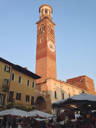 102/365 April 12 2017 One Year Project Tower Verona Verona Italy Veneto Italy Torre Dei Lamberti Clear Sky Building Exterior Architecture Clock Tower Large Group Of People Clock Built Structure Travel Destinations Bell Tower - Tower Outdoors Men Time City Real People Day Sky Crowd Astronomical Clock People