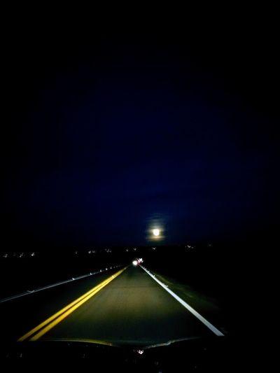 Moon Road Night Car Night Travel Transportation The Way Forward Highway Street Journey Illuminated Dividing Line Outdoors No People Sky First Eyeem Photo