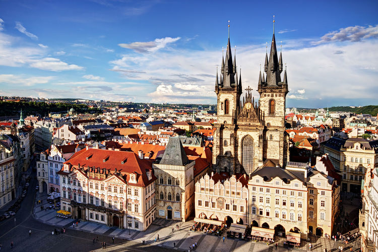 Old Town Square Church and Buildings - Prague Prague Praha Czech Republic Old Town Square Rooftops Church Of Our Lady Before Tyn From Above  Spires Architecture Cityscape Cityscape Photography City Urban Urban Landscape Urban Photography Travel Travel Destinations Tourism Tourist Destination Eastern Europe Place Of Worship