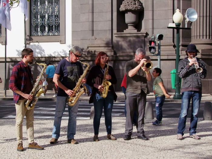 Musicians, Avenida Arriaga Composition Funchal Madeira Madeira Island Portugal Tourist Attraction  Brass Instruments Five People Full Frame Full Length Music Musical Instruments Musicians Outdoor Photography Performance Playing Saxophone Standing Street Street Musicians Street Performers Sunlight And Shadows Togetherness Travel Destination Trumpet