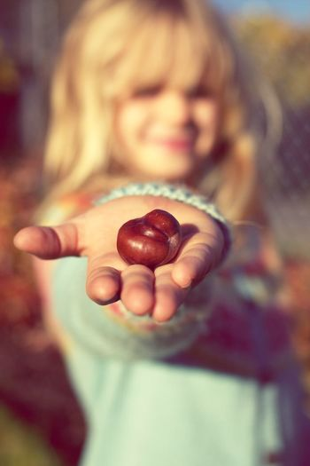 Close-up of girl holding chestnut