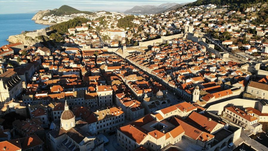 Croatia Dubrovnik Rooftop House Old Town Drone View Urban Europe Built Structure Building Exterior Architecture Heritage Adriatic Sea Tower Town Crowded Travel Travel Destinations Travel Photography Seascape Ocean Beautiful Place Medieval Mediterranean
