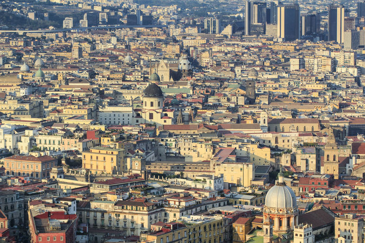 Aerial view of the city of naples with historic and modern buildings