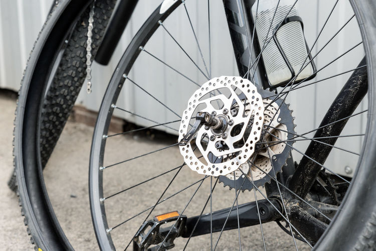 High angle view of bicycle wheel