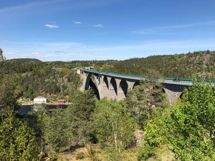 At the border Sweden/Norway IPhoneography Bridge Bridge - Man Made Structure Plant Sky Nature Sunlight Tree Day No People Field Land Cloud - Sky Grass Built Structure Outdoors Growth Architecture Green Color Environment Beauty In Nature Landscape Transportation My Best Photo