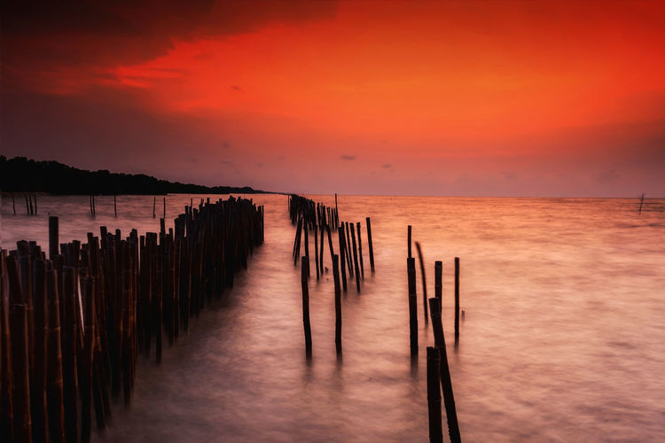 Long exposure of Motion sea touching bamboo wall with twilight sky, Seascape at dawn in Samut Songkhram, Thailand. Natural landscape background Twilight Bamboo Beach Beauty In Nature Dawn Day Dusk Horizon Over Water Long Exposure Motion Nature No People Orange Color Outdoors Scenics Sea Seascape Sky Sunset Tranquil Scene Tranquility Walll Water Wood - Material Wooden Post