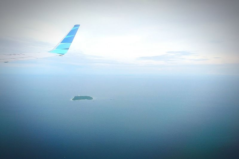 Island Sky XPERIA Xperiaphotography Xperiax Outdoors Inflight InFlightPhoto Garudaindonesia Garuda Indonesia Garudafrequentflyer Airlines Cloud - Sky Water Sea And Sky Sea Over Ocean Blue Over The Sea