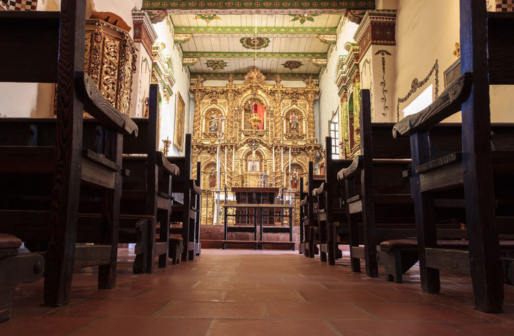 San Juan Capistrano, CA, USA —September 25, 2016: Serra Chapel at the Mission San Juan Capistrano in Southern California, United States. Editorial use only. Architecture California Chapel Church Indoors  Junipero Serra Landmark Mission San Juan Capistrano No People Pews Religion San Juan Capistrano San Juan Capistrano Mission Serra Chapel United States