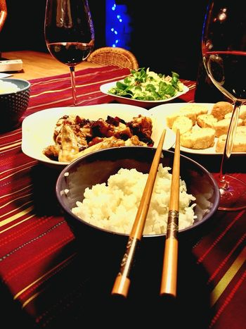 Wine Food Wineglass Drinking Glass Indoors  No People Ready-to-eat Rice Ball Chiken Wings Food And Drink