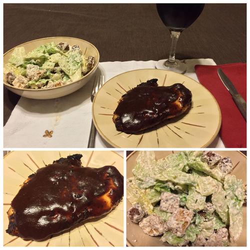 Tonight I grilled BBQ chicken breasts. Served with a Caesar salad and my homemade 2013 Italian Amarone wine. ICanCookMyAssOff ItsAnItalianThing Grilling HomemadeItalianWine Nomnombomb TheExpensiveWinos MyFoodPics