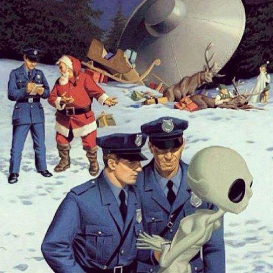 Haha UFO Santaclause Crash Reindeer christmas holidays police alien arrested