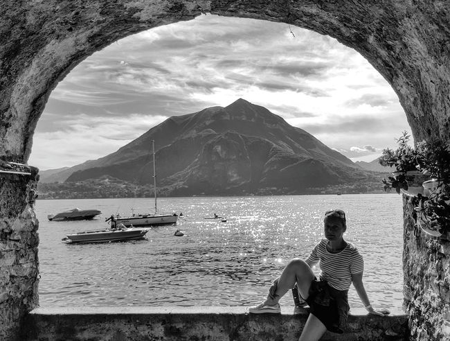 Water Cloud - Sky Mountain Vacations Day Only Women Sky One Person Outdoors Scenics Samsungphotography Samsung Galaxy S6 Lago Como Lake,Italy Lake View Como Lake People Blackandwhite Black & White Bnw Varennalakecomo Varenna Varenna,Italy Window On The Lake