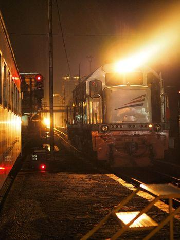 Night Railroad Track Rail Transportation Public Transportation Illuminated Transportation Train - Vehicle